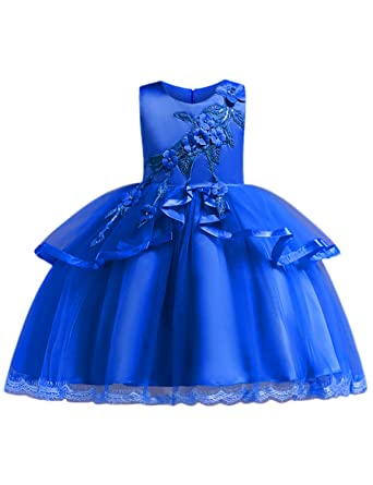Blevonh Easter Dresses for Girls, Kids Fashion Round Neck Sleeveless Party  Wedding Dress Toddlers 3D Flower Ruffles Little Dresses Special Occasion