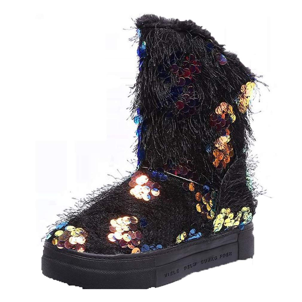 Hy Damen-Schneestiefel, künstliche PU Winter Flache Slip-Ons Stiefel, Ski/Snowboard / Outdoor-Sport/Snowsports Winterstiefel Ski-Schuhe rot, lila, schwarz (Farbe : Rot, Größe : 40)