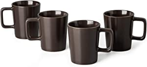GBHOME Stoneware Dinnerware Set, Coffee Mugs Set of 4, Matte Brown