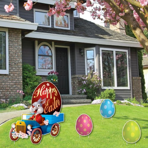 Easter lawn decoration easter bunny in vintage car 3 for Spring yard decorations