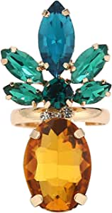Sparkling Yellow Emerald Crystal Vintage Trendy Fruit Pineapple Earrings Stud Necklace Jewelry Sets For Women Girls (pineapple ring)