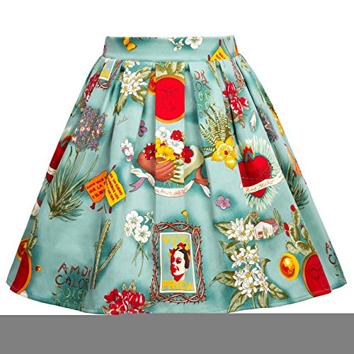Girls Elastic Waist Pleated Floral Cotton A-Line Skirts 11-12yrs (Flower Cotton Elastic Waist Skirt)