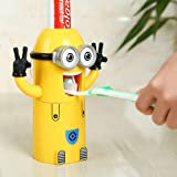 VIVISKY Wall-Mounted 2 Eyes Minions Toothpaste Dispenser and Toothbrush Holder Set Automatic Toothpaste Squeezer (Yellow)