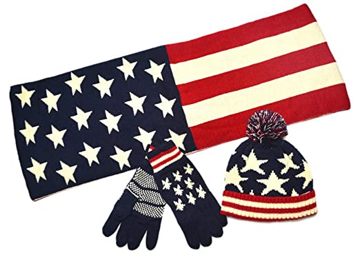 45f099a80e8 Image Unavailable. Image not available for. Color  AnVei-Nao Unisex USA  American Flag Winter Warm Double Knit Scarf Hats Gloves Set