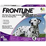Frontline Plus for Dogs Large Dog (45 to 88 pounds) Flea and Tick Treatment, 6 Doses