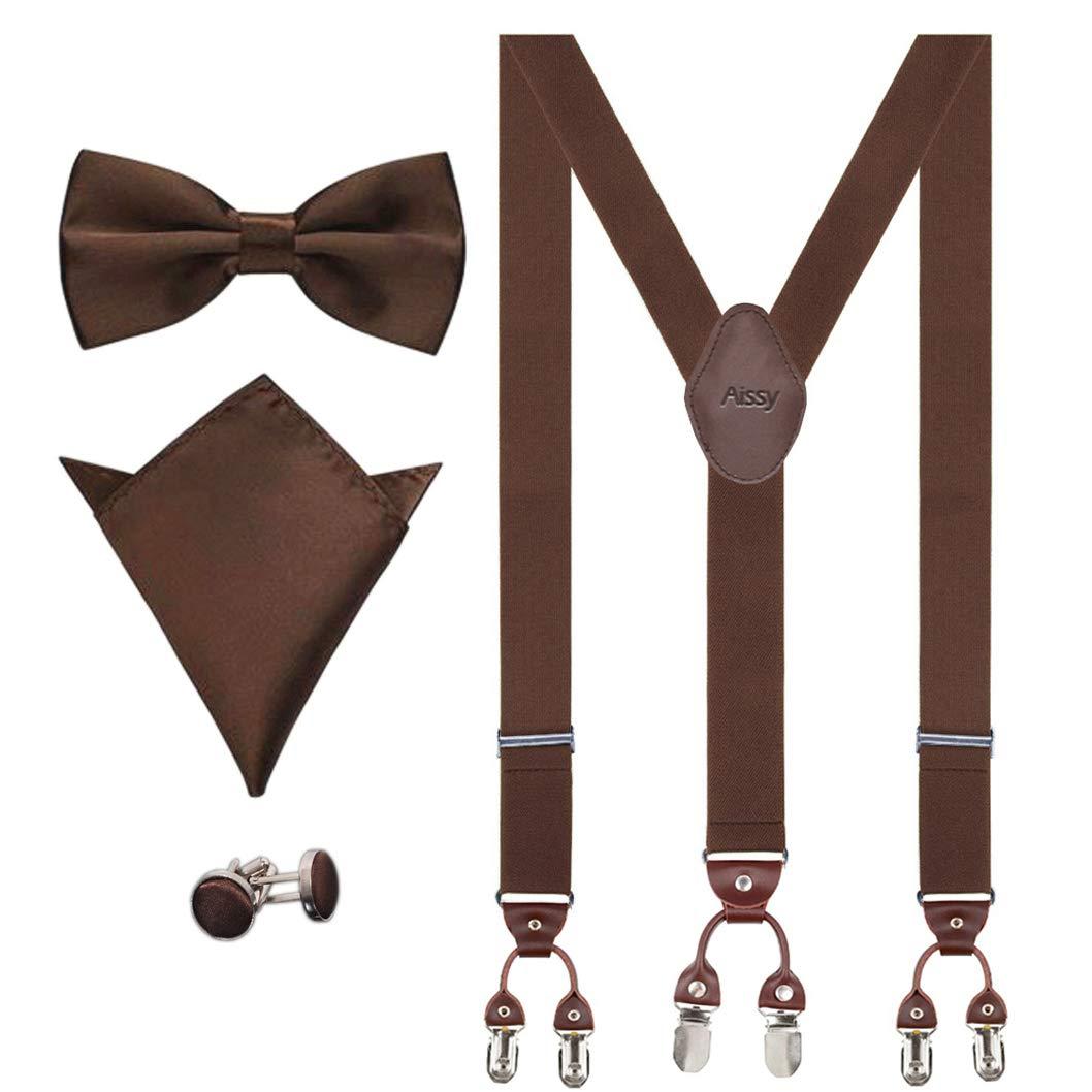 Men Braces 3.5cm Y Shape Adjustable Heavy Duty Men Trouser Braces with Bow Tie,Pocket Square/&Cufflink