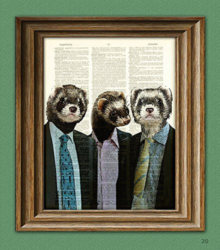 Ferret Art Print A Business of Ferrets illustration Animal Groups Collection upcycled dictionary page book art print