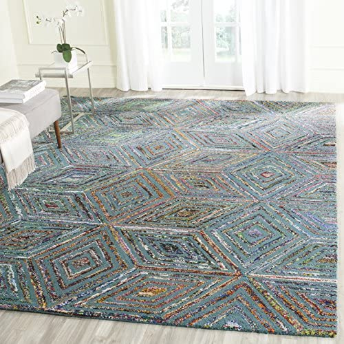 Safavieh Nantucket Collection NAN607A Handmade Abstract Blue Cotton Premium Area Rug 8 x 10