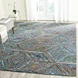 Safavieh Nantucket Collection NAN607A Handmade Abstract Blue Cotton/Premium Area Rug (5′ x 8′)