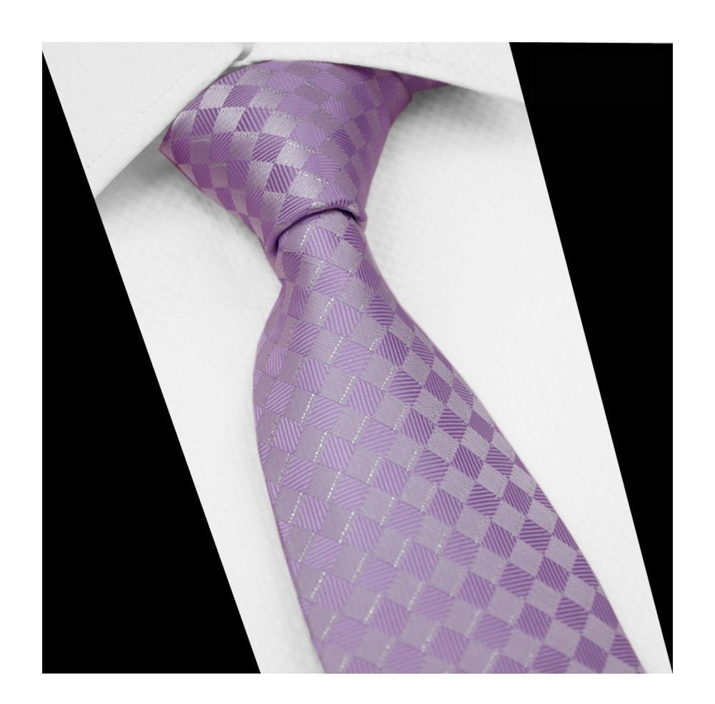 Men's Repp Lavender Check Silk Tie Spring Summer Wedding Groom Designer Neckties