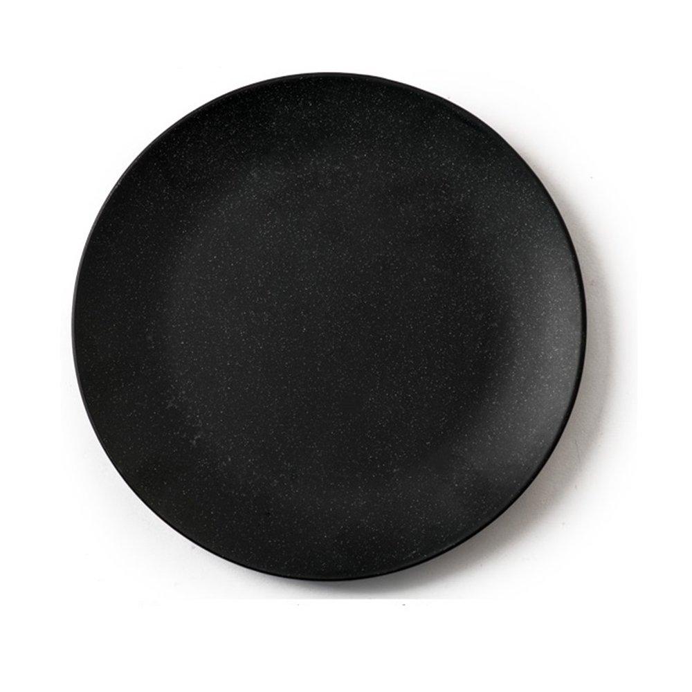 Huayoung Sesame Glaze Ceramic Shallow Plate Round Flat Dinner Plate (10-inch, Black)