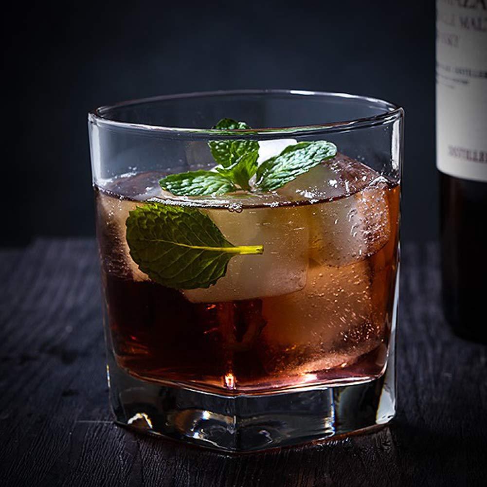 0d1efada7b5 Double Old Fashioned Whiskey Glass - 10 oz Crystal Glasses Square White  Spirits Mug Scotch Cups