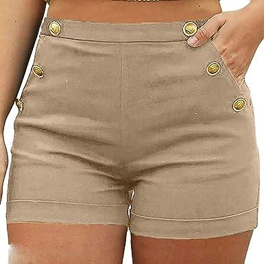 Overdose Pantalones Elasticos Mujer Pantalon Color Camel Pantalones De Tiro Alto Mujer Traje Pantalon Mujer Pantalon Negro De Vestir Botones De Oro De Moda Amazon Es Ropa Y Accesorios