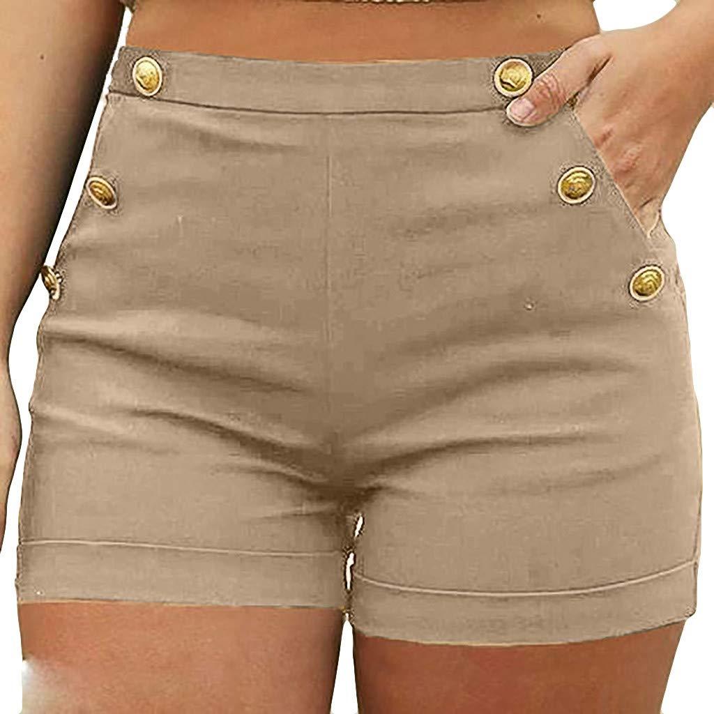 Duseedik Womens Hot Shorts Summer Casual Plus Size Zipper Elastic Band Button Pocket Hot Pants Lady Shorts Trouser