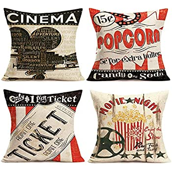 Smilyard Movie Theater Cinema Throw Pillow Covers Vintage Cinema Ticket with Popcorn Throw Pillow Case 18x18 Inch Cotton Linen Personalized Home Decor Cushion Cover for Sofa Set of 4 (Cinema Set)