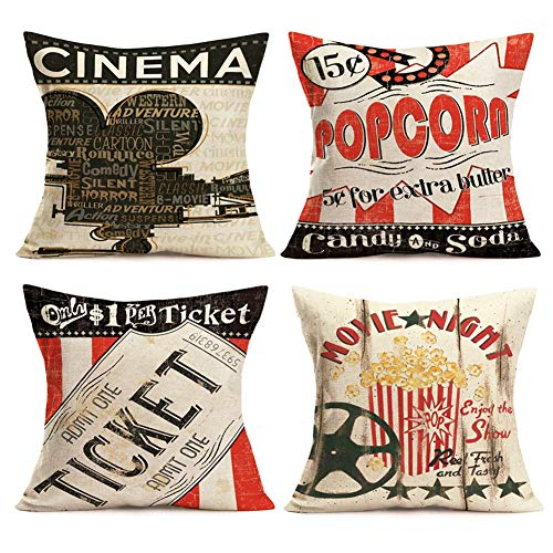 Smilyard Movie Theater Cinema Throw Pillow Covers Vintage Cinema Ticket with Popcorn Throw Pillow Case 18x18 Inch Cotton Linen Personalized Home Decor Cushion Cover for Sofa Set of 4 (Cinema Set) (Decorative Pillows Theater)