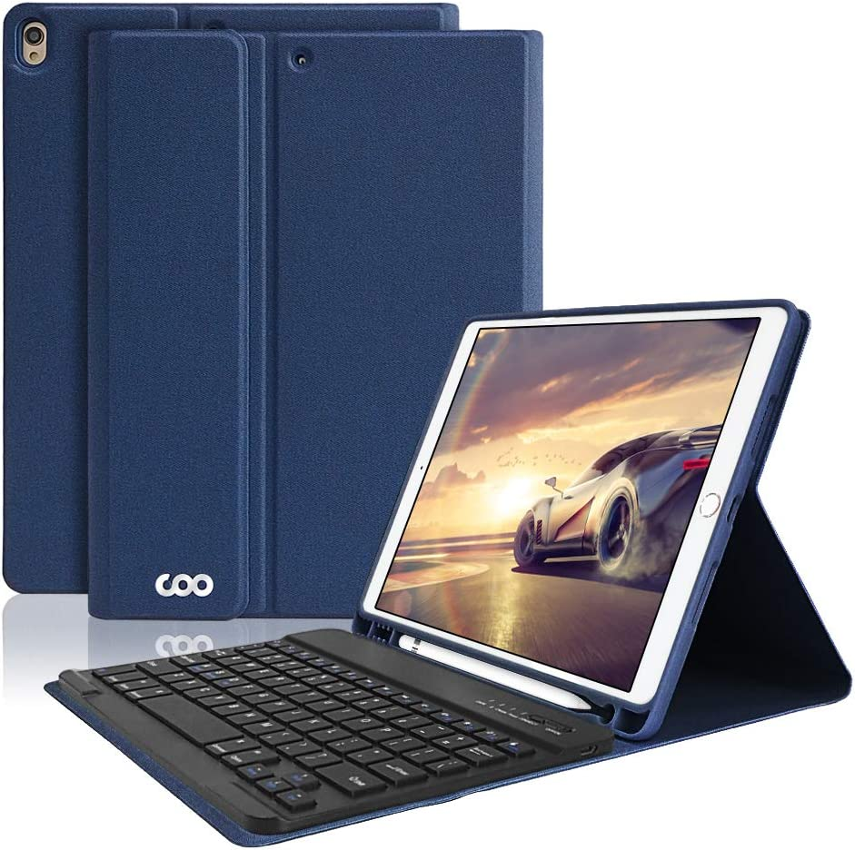 """iPad Pro 10.5 Keyboard Case with Built-in Pencil Holder, COO Keyboard Case for iPad Air 3 10.5"""" 2019 (3rd Gen)/iPad Pro 10.5"""" 2017- Detachable Bluetooth Keyboard, Magnetic PU Leather Co (Dark Blue-1)"""