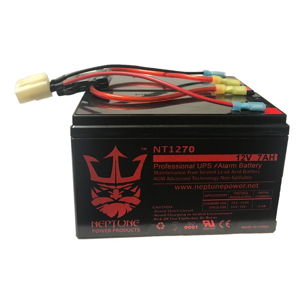 Razor Scooter 12V 7Ah Battery Replacement Set of 2 with New Wiring Harness (replaces 6-DW-7) by Neptune Power