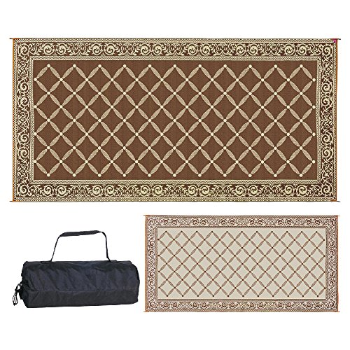 Reversible Mats 119187 Outdoor Patio 9-Feet x 18-Feet, Brown/Beige RV Camping Mat