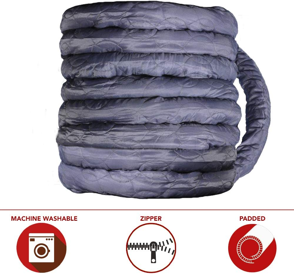 Nadair ACCHO-COV40ZIP-GY Universal Padded Cover, Fits All 40 to 42 ft Central Vacuum Hose, Easy to Install, 40ft, Machine Washable, Zipper, Grey