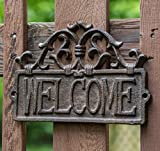 "Welcome Sign for Door - Cast Iron Rustic Welcome Sign | Decorative Welcome Wall Plaque | Vintage Design | For Door, Entrance or Porch | Indoor or Outdoor Use | 9.4 X 6.5"" (Rust Brown)"