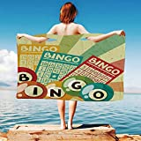 iPrint Vintage-Decor Quick Dry Plush Microfiber (Towel+Square scarf+Bath towel) Bingo-Game-with-Ball-and-Cards-Pop-Art-Stylized-Lottery-Hobby-Celebration-Theme And Adapt to any place
