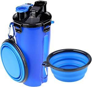 Szxc Dog Water Bottle Food Container 2-in-1 with Collapsible Bowls - Outdoor Pet Feeding Dispenser for Hiking Travel - 1 Quart - BPA Free