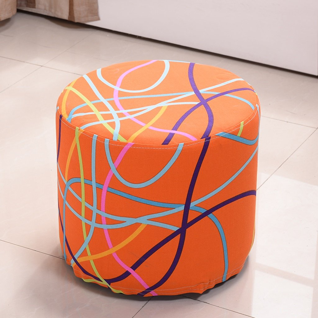 ALUS- Cloth Sofa Stool Can Be Washed And Washed Fashion Stool Solid Wood For Shoe Stool Low Stool Stool (Color : Striped) by ALUS-small stool (Image #1)