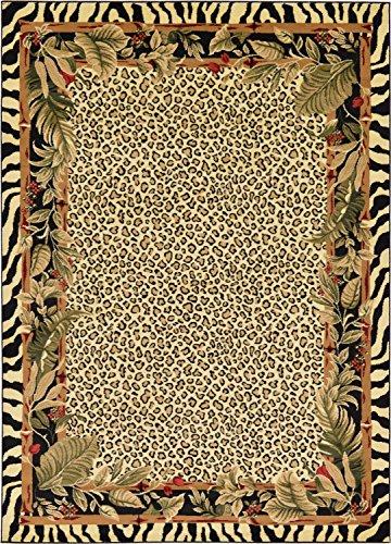 Rug Zebra Border (Unique Loom Wildlife Collection Zebra Leopard Botanical Border Animal Cream Area Rug (7' x 10'))