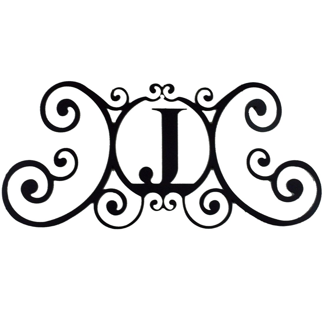 24 Inch House Plaque Letter - Wrought Iron Metal Scrolled Monogram Initial Letter Home Door Wall Hanging Art Decor Family Name Last Name Letter Sign (J, 24 x 11 inches,Thick 0.078 inch (2mm))