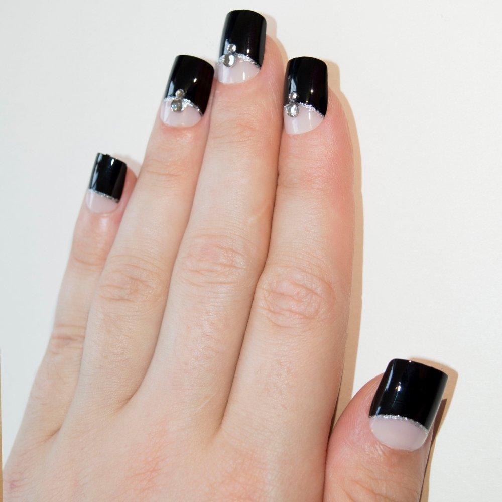 Bling Art Falsche Nägel Französisch Maniküre Black Crystal Medium ...