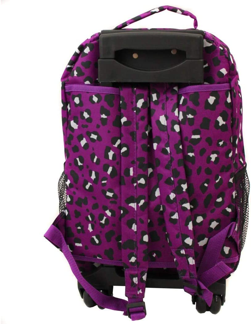Girls Pink Leopard Backpack Animal Pattern Cheetah Dots Themed Carry