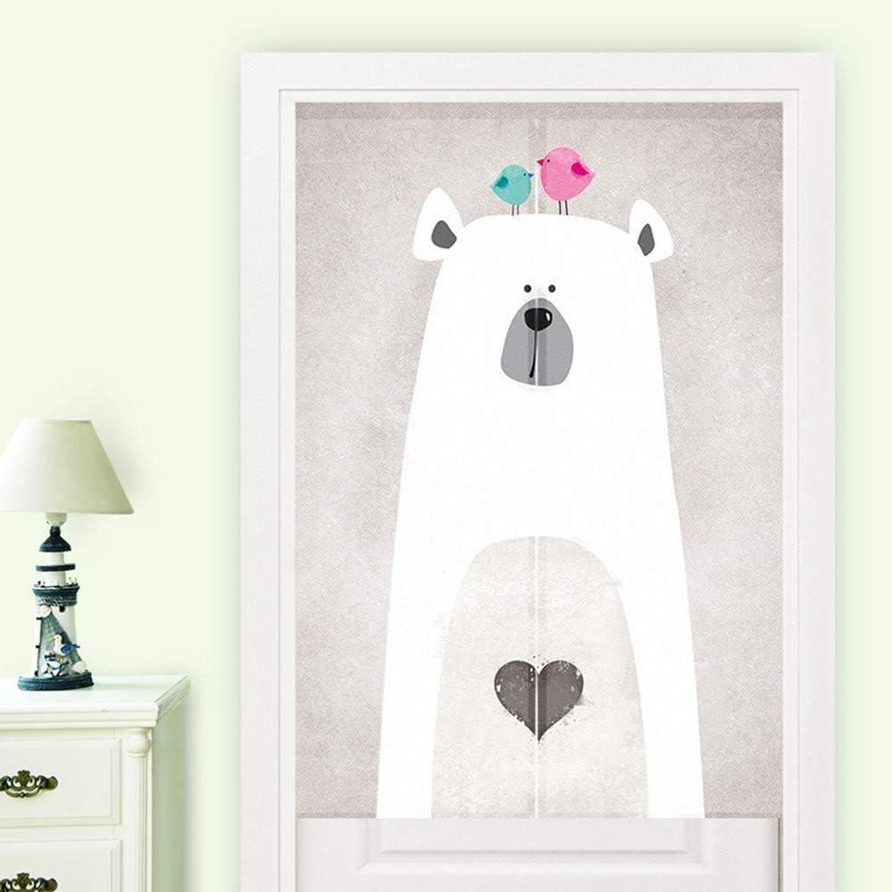 MYRU Japanese Curtain Cute Noren Japanese Curtain Entrance Feng Shui Door Curtain (White Bear,33.5 Inches x 55 Inches)