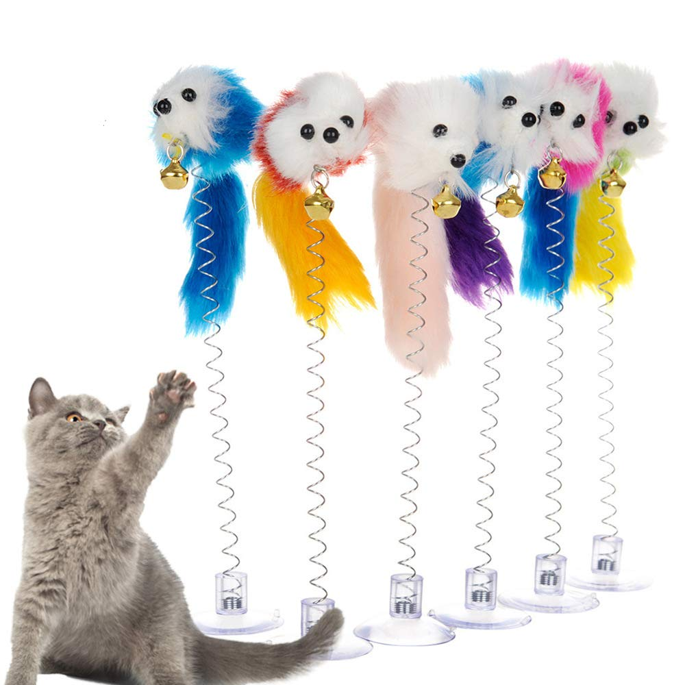 Xeminor 1 Pcs Cat Toy Spring Toy with Suction Cup Mouse Shape Cat Play Interaction Toy Funny Cat Stick Cat Supplies 1 Pcs Random Color