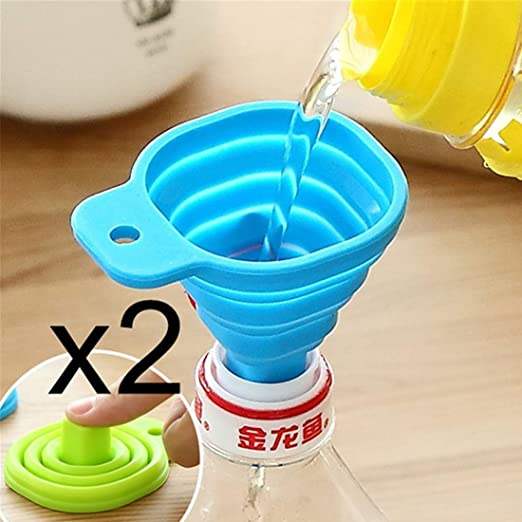 Silicone Gel Foldable Collapsible Funnel Kitchen Accessories Hopper Cooking Tool