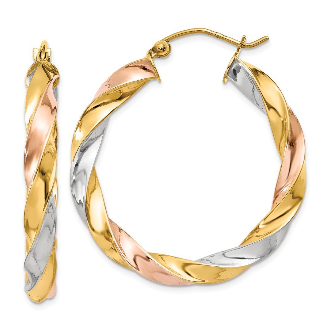ICE CARATS 14k Tri Color Yellow White Gold Twisted Hoop Earrings Ear Hoops Set Fine Jewelry Ideal Mothers Day Gifts For Mom Women Gift Set From Heart