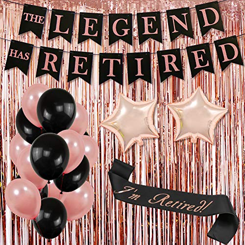 Retirement Party Decorations for Women| Rose Gold THE LEGEND HAS RETIRED Banner Bunting, I'm Retired Sash,Rose Gold Foil Fringe Curtain,Black and Rose Gold Balloons Retirement Decorations Supplies for Retirement Party -