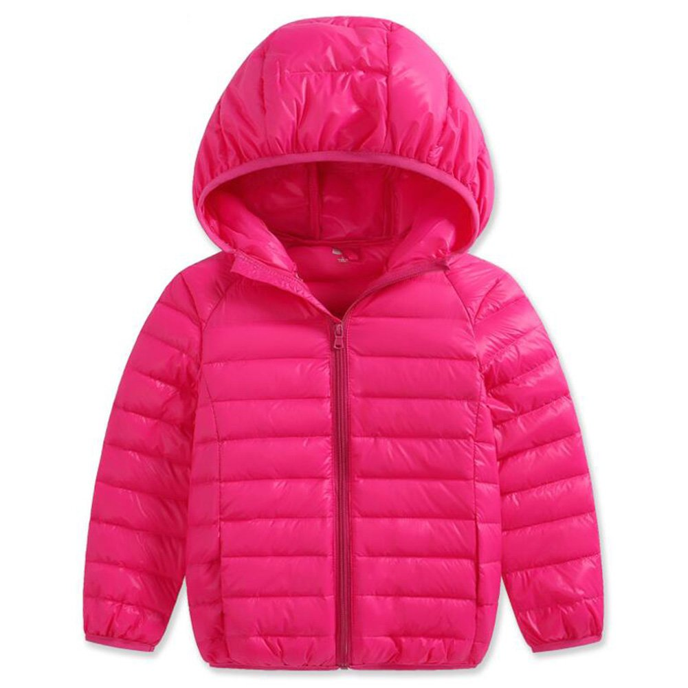 Baby Girls Boys Winter Lightweight Down Coat Hoodies Kids Puffer Warm Coat Outwear Windproof Jacket (3-4 Years, Rose)