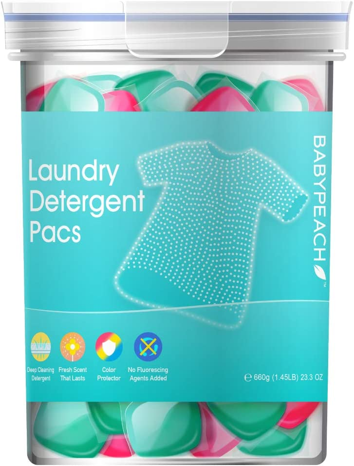 BABYPEACH 3 in 1 Natural Laundry Detergent Pods,Gentle on Skin and Clothes,42 Count,23.3 Oz