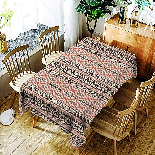 - TT.HOME Anti-Fading Tablecloths,Southwestern Traditional Vertical Borders Inspired by Primitive Art Ikat Style Ancient,Table Cover for Kitchen Dinning Tabletop Decoratio,W50x80L,Multicolor