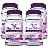 ThyrAid - #1 Thyroid Support - With Iodine, Kelp, Schisandra, Vitamin B12, Selenium, Ashwaghnada. Manage Hypothyroidism Symptoms, Support Adrenal Glands - 100% Money Back - 4 Bottles (4 Months Supply)