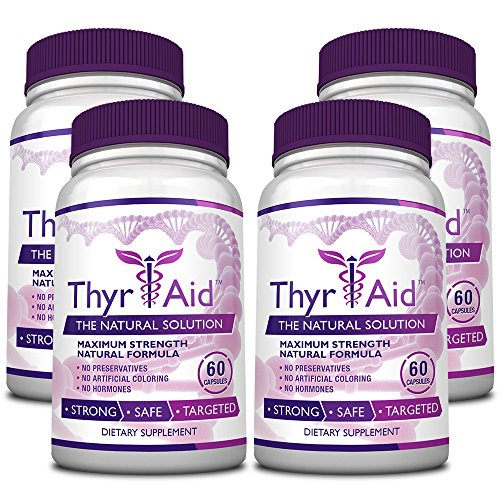 ThyrAid - #1 Thyroid Support - With Iodine, Kelp, Schisandra, Vitamin B12, Selenium, Ashwaghnada. Manage Hypothyroidism Symptoms, Support Adrenal Glands - 100% Money Back - 4 Bottles (4 Months Supply) by ThryAid