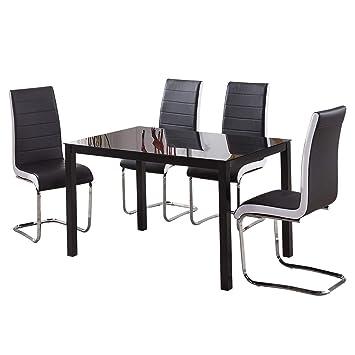 Grand Verre Table de Salle à Manger et 4 chaises Noir Blanc ...