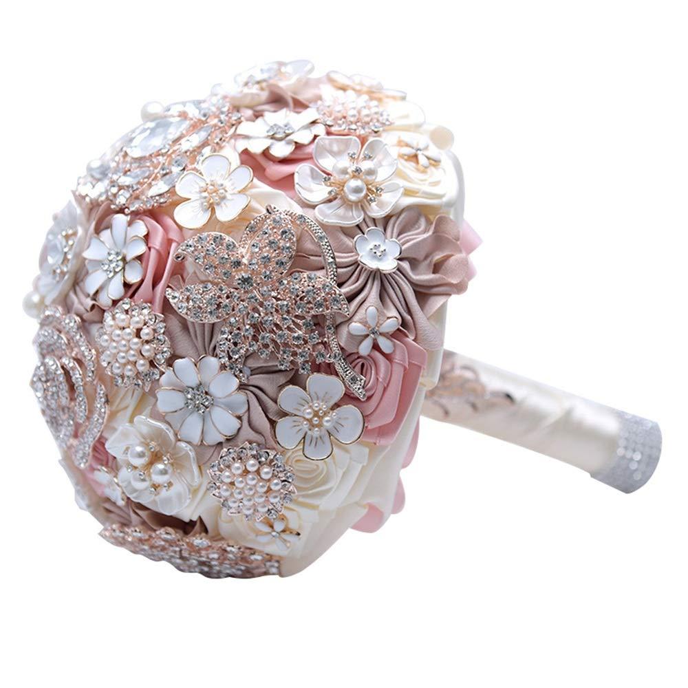 結婚式のブーケ 花嫁のための豪華な夢のブーケフラワーブローチラインストーンのウェディングブーケ - ピンク/アイボリーホワイト 結婚式/写真撮影用 B07P84CBF9