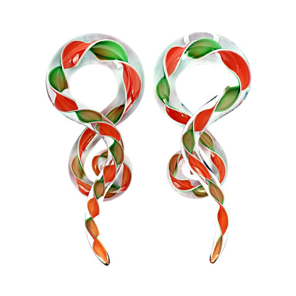 YOFANST 2pcs Glass Ear Tapers Plugs 4G-14mm Multi-Colors Twist Handmade Spiral Gauges Piercing Jewelry
