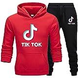 Women TIK TOK Long Sleeve Hoodies Sweatshirts Tracksuits + Tiktok Long Pants Casual Sports Jogging