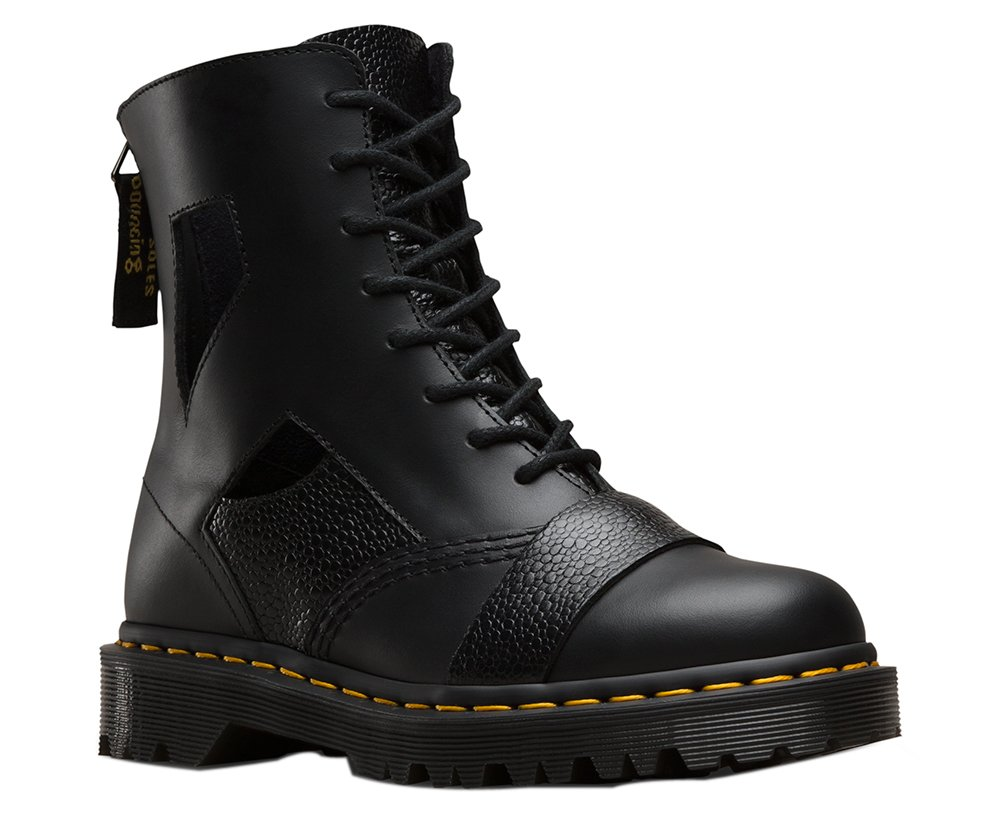 Dr. Martens Women's Katrinia Cut Out 8-Eye Boot,Black Lausanne/Stone,UK 7 M by Dr. Martens