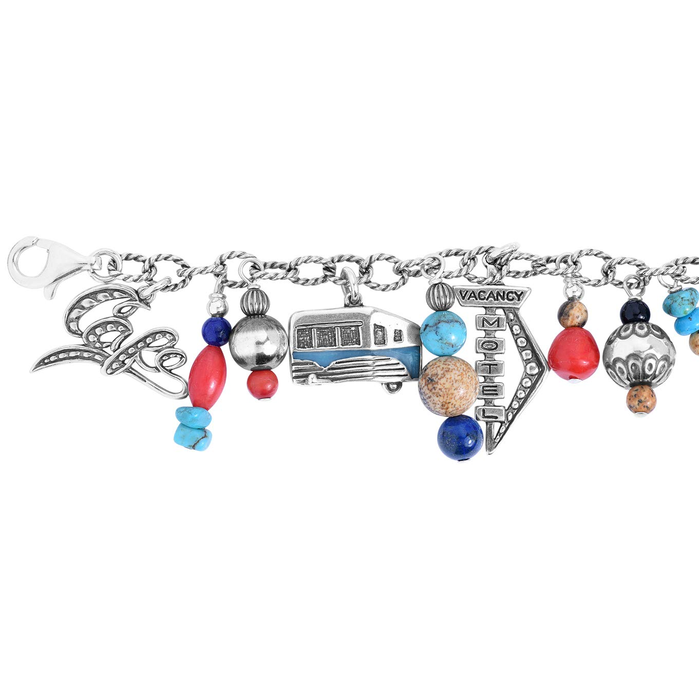 Sterling Silver Route 66 Multicolor Semi-Precious Bead Charm Chain Bracelet, Average (Fits 6-3/8'' to 6-3/4'') by American West (Image #5)