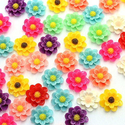 QianCraftKits Resin Flower, 135pcs Layered Daisy Flowers Flatback Resin Cabochon for DIY Phone/Scrapbooking/Craft Embellishments (19mm, 9colors) by QianCraftKits