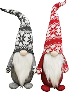 Vanteriam Holiday Gnome Handmade Swedish Tomte, Elf Santa Scandinavian Plush Long Hat Doll Home Decor Collectible Nisse Dolls, Christmas Party Gifts 18.5 Inches Set of 2